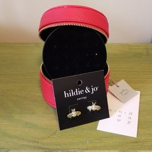 Jewelry - Red travel jewelry box with Bumblebee Studs